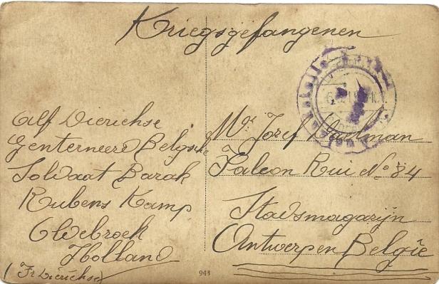 achterkant van de prentkaart met het portret van Alfons Dierickx (privé-collectie Karen Dierickx)