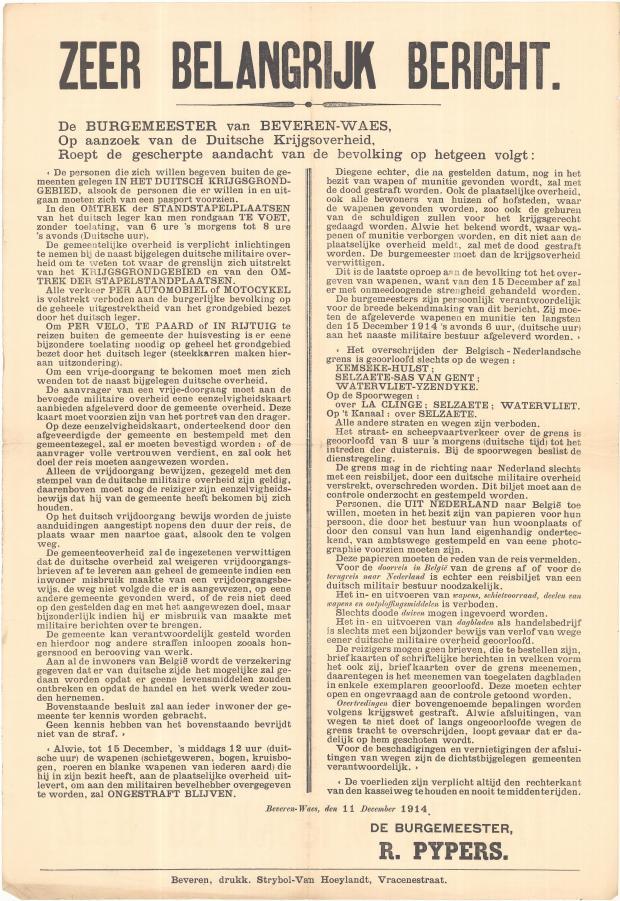 De affiche met de nieuwe Duitse bepalingen voor het overschrijden van grenzen die Cécile erg in de war brengt. (GAB Beveren- Waas, Oorlogsaffices, WOI_1_14)