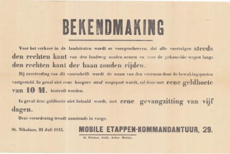 Verordening van de mobiele Etappenkommandatur op het verplicht rechts rijden voor alle voertuigen (22 juli 1915) (GAB Beveren- Waas, Oorlogsaffiches, WOI_2_26)