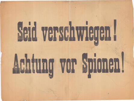 Affiche 'Seid verschwiegen. Achtung für Spionen!' S.d. (GAB Beveren- Waas, Oorlogsaffiches, WOI_18_13)