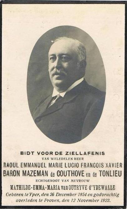 Raoul Emmanuel Lucio François-Xavier, baron de Mazeman de Couthove (1854-1923), was burgemeester van Proven in opvolging van zijn vader Jules Maziman (1811-1879). Hij trouwde in 1889 met Mathilde van Outryve d'Ydewalle (1867-1945), dochter van senator en volksvertegenwoordiger Eugène-Edouard. (Privécollectie)