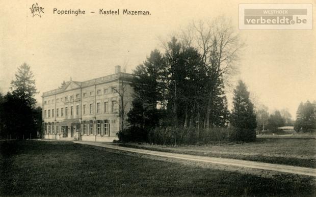 Kasteel Couthof langs de huidige Couthoflaan gefotografeerd omstreeks 1900. Rond de vorige eeuwwisseling werd het kasteel bewoond door burgemeester baron Raoul Mazeman (Privécollectie; 'Westhoek verbeeldt') http://www.westhoekverbeeldt.be/afbeelding/7828e306-bbc5-11e3-a96f-7f03de76d281