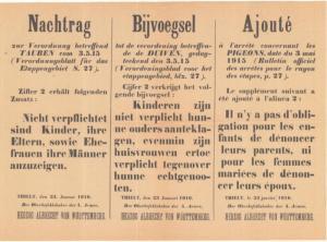 bijvoegsel bij verordening op duiven (januari 1916)