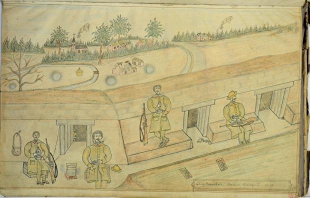 Pentekening Frans Struyf. Getiteld: aux tranchées secteur tranquil., 1916. GAB, daboek Frans Struyf, f° 66